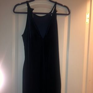 Form fitting velvet navy blue dress
